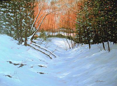 Roaring Red - River Road Winter by Maryann Boysen