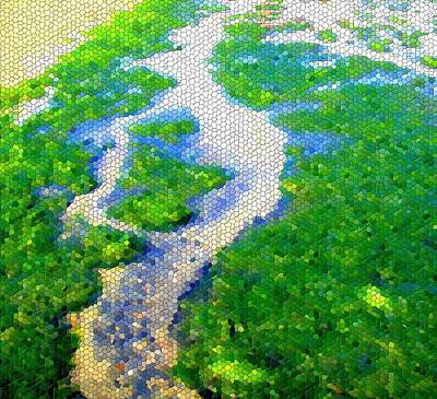 Mosaic Print featuring the photograph River by Roberto Alamino