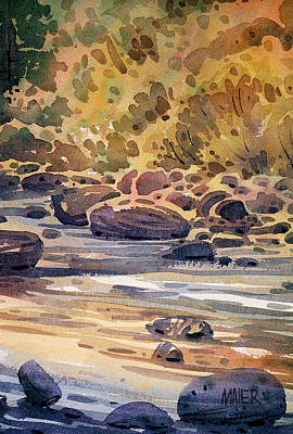 River Rocks Painting - River Rocks by Donald Maier
