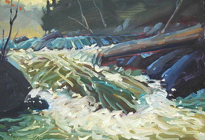 Falling Water Painting - River Run by Len Stomski