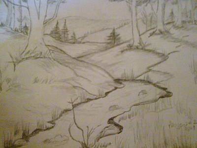 Drawing - River Runs  by Helen Vanterpool