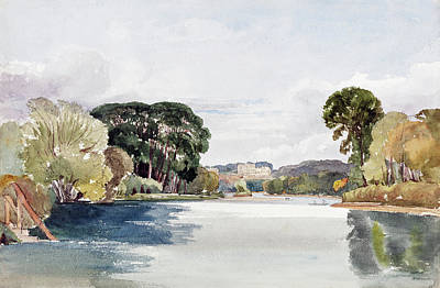River Scene With Distant Castle Art Print