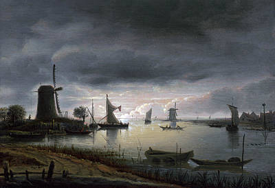 Painting - River Scene With Windmill And Boats, Evening by Anthonie van Borssom
