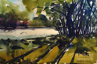 Painting - River Shadows Framed Matted Glassed by Charlie Spear