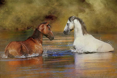 Digital Art - River Stallions  by Posey Clements