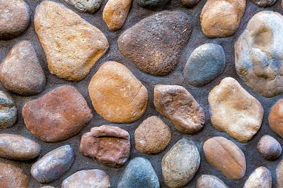 Photograph - River Stone Rock Wall Background by David Gn