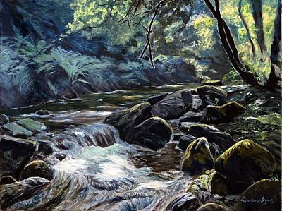 Art Print featuring the painting River Taw Sticklepath by Lawrence Dyer