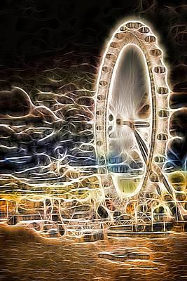 River Thames And The London Eye Neon Art Art Print by John Williams