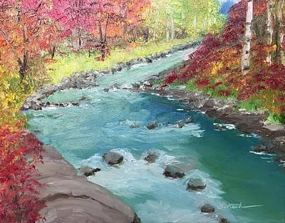 Painting - River Through Woods by David Bartsch