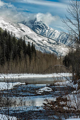 Mountain Royalty-Free and Rights-Managed Images - River to Peaks Glacier National park by Greg Wyatt