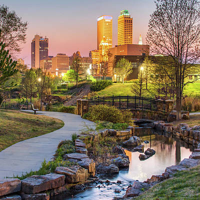 Photograph - River To The Tulsa Oklahoma Skyline 1x1 by Gregory Ballos
