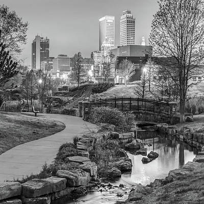 Photograph - River To The Tulsa Oklahoma Skyline Black And White 1x1 by Gregory Ballos