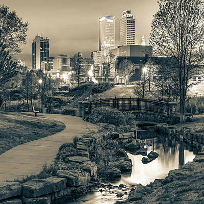 Photograph - River To The Tulsa Oklahoma Skyline Sepia 1x1 by Gregory Ballos