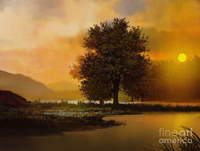 Foggy Lake Digital Art - River Tree by Robert Foster