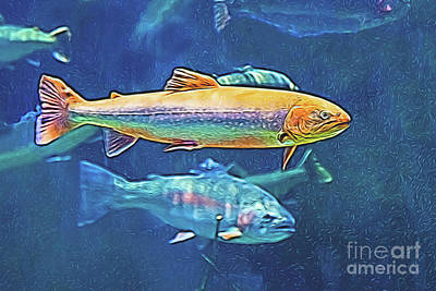 Digital Art - River Trout by Ray Shiu