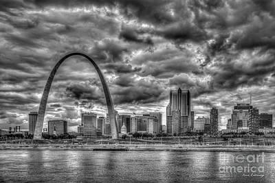 Photograph - River View B W The Gateway Arch St Louis Missouri Cityscape Art by Reid Callaway