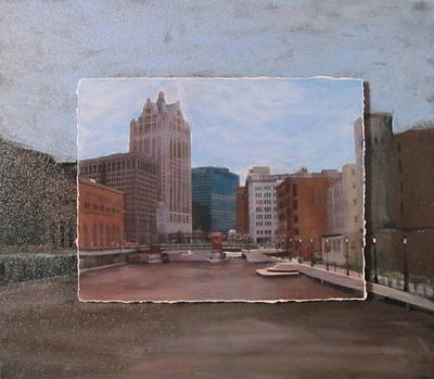 Riverwalk Mixed Media - River View Layered by Anita Burgermeister