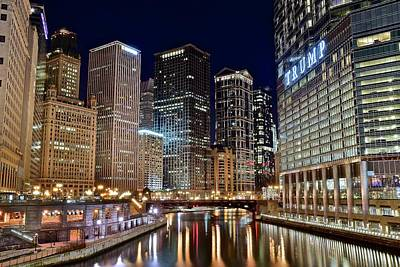 Wrigley Photograph - River View Of The Windy City by Frozen in Time Fine Art Photography