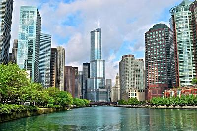 Photograph - River View Of Windy City Towers by Frozen in Time Fine Art Photography