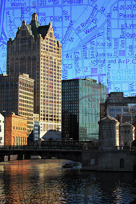 Photograph - River View Theater District Tall W Map by Anita Burgermeister
