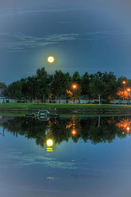 White River Scene Photograph - River Walk Park Full Moon Reflection 2 by Connie Cooper-Edwards