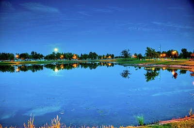 White River Scene Photograph - River Walk Park Full Moon Reflection 3 by Connie Cooper-Edwards