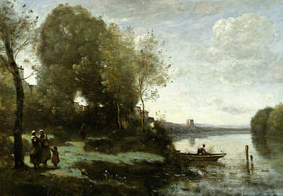 Distant Painting - River With A Distant Tower by Jean-Baptiste-Camille Corot