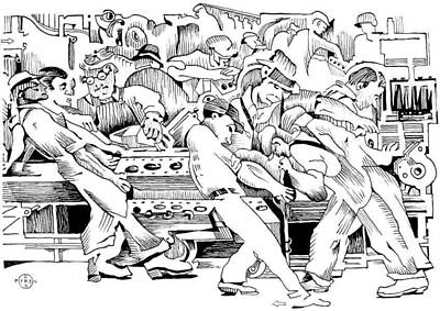 Gary Peterson Drawing - Rivera Auto Industry by Gary Peterson