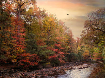 Autumn Landscape Digital Art - Riverbank Beauty by Jessica Jenney