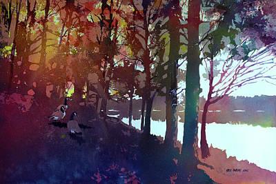 Riverbank Gathering Art Print