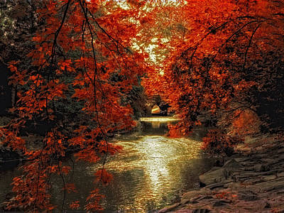 Autumn Landscape Digital Art - Riverbank Red by Jessica Jenney