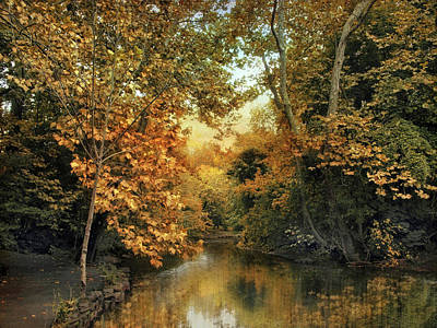 Autumn Pond Photograph - Riverbank Reflections by Jessica Jenney