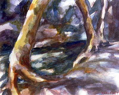Abstract Realism Painting - Riverbed by Karl Frey