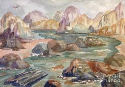 Painting - Riverbed Through Rocky Canyon  by Ellen Levinson