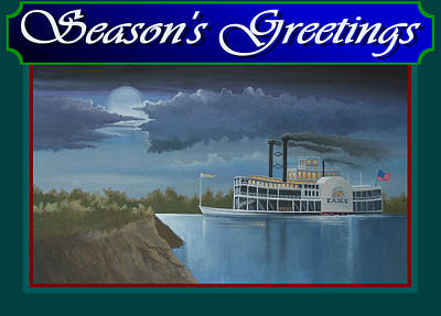 Art Print featuring the painting Riverboat Season's Greetings by Stuart Swartz