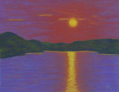 Pastel - Riverboat Sunset by Anne Katzeff