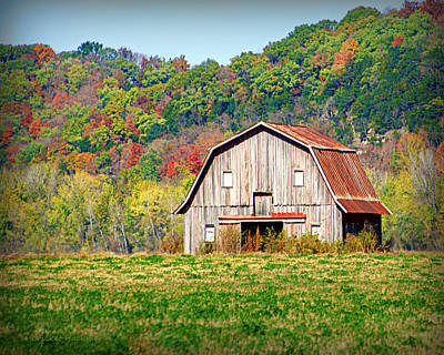 Riverbottom Barn In Fall Print by Cricket Hackmann