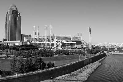 Photograph - Riverfront Stadium Black And White  by John McGraw