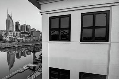 Photograph - Riverfront View Of The Nashville Skyline - Black And White by Gregory Ballos