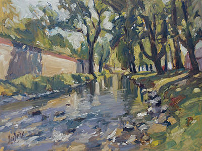 River Painting - Riverjeker In The Maastricht City Park by Nop Briex
