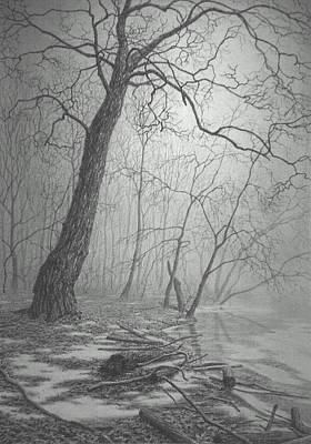 Fog Mist Drawing - Rivers Edge by Barry DeBaun
