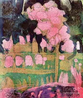 Riverside Blossom Tree Art Print