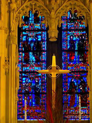 Digital Art - Riverside Church Cross by Ed Weidman