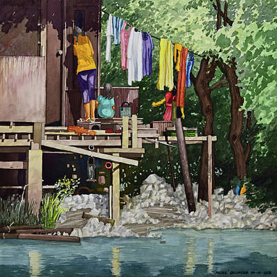 Painting - Riverside House And It's Laundry by Andre Salvador