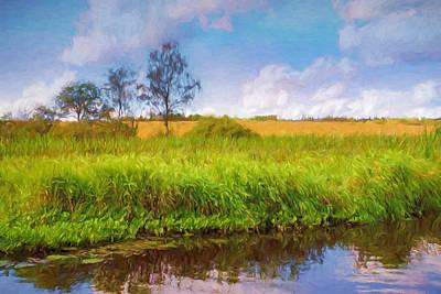 Painting - Riverside Landscape by Lutz Baar