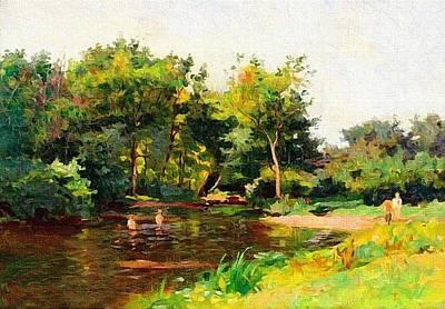 Riverside Landscape Scene Near Lombardyhurst L B Art Print by Gert J Rheeders