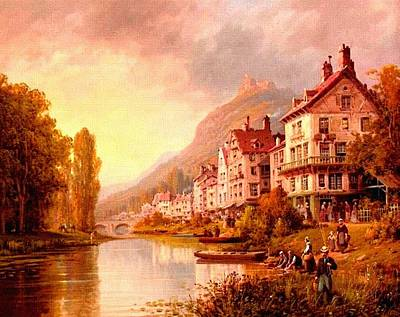 Park Scene Digital Art - Riverside Landscape Scene With Buildings On The Riverbank. L B by Gert J Rheeders