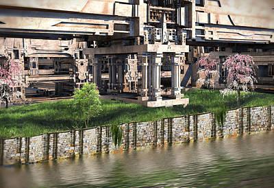 Digital Art - Riverside Pavilion by Hal Tenny