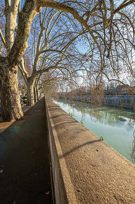 Photograph - Riverside Shadows Rome Italy by Joan Carroll