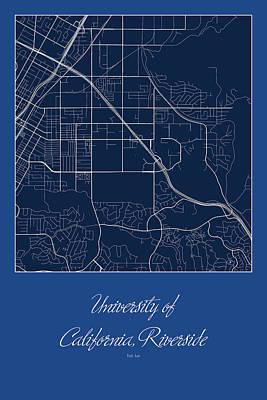 University Digital Art - Riverside Street Map - University Of California Riverside Map by Jurq Studio